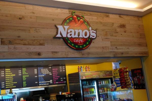 Nano's Cafe panel sign